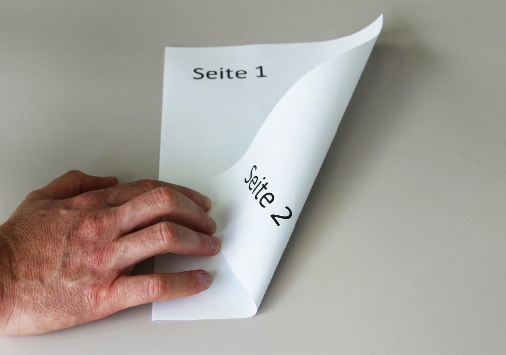 1 Blat = 2 Seiten